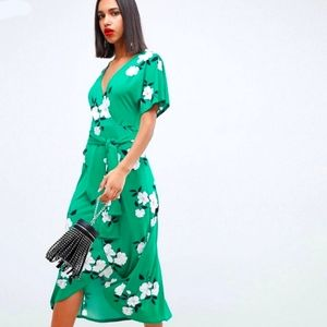 Asos Floral Wrap Midi Dress